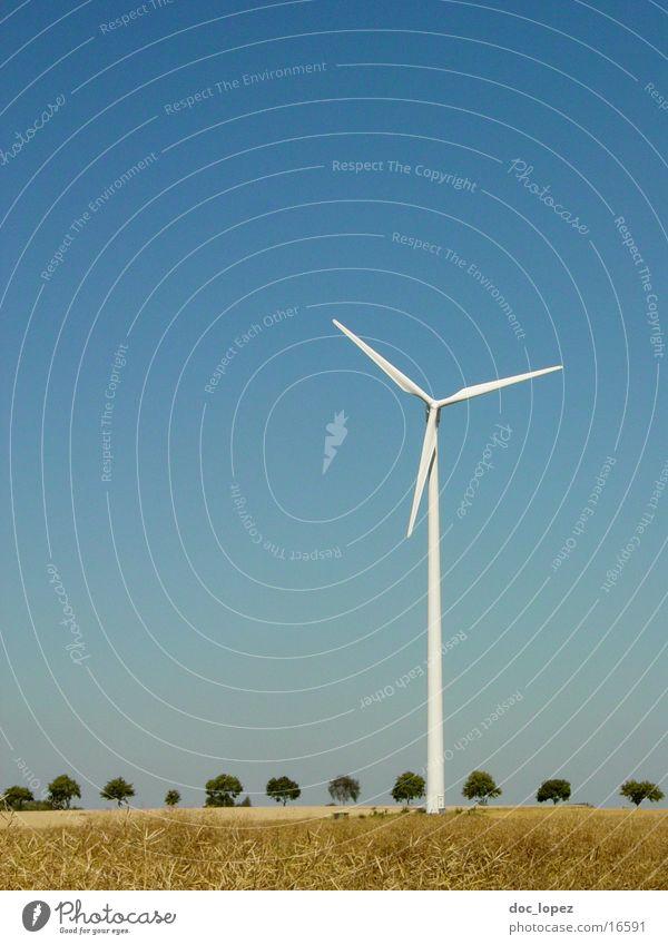 in_der_Landschaft_rumstehen Himmel weiß Baum blau Ferne Stimmung Feld Wind Energiewirtschaft Elektrizität Industriefotografie Sehnsucht Windkraftanlage Reihe