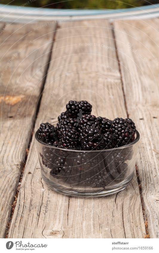 Klarglasschüssel reife Brombeeren Pflanze rot schwarz Essen Holz Lebensmittel Frucht Ernährung Glas Bioprodukte Frühstück Schalen & Schüsseln