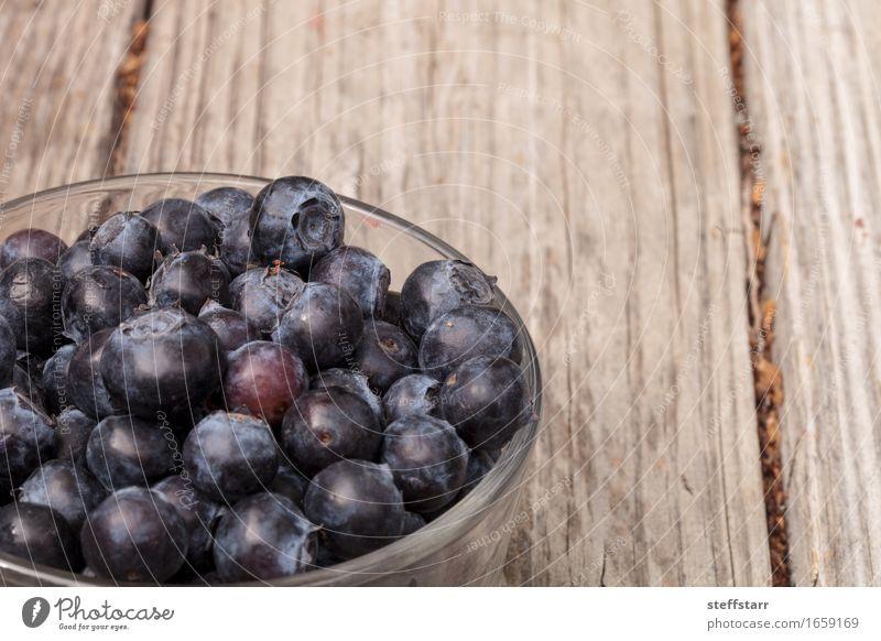 Klarglasschüssel reife Blaubeeren blau Pflanze Essen Lebensmittel Frucht Ernährung Bioprodukte Frühstück Schalen & Schüsseln Vegetarische Ernährung Diät