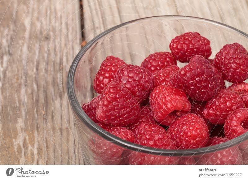 Klarglasschüssel reife Himbeeren Pflanze schön rot Lebensmittel rosa Frucht Ernährung Glas Haut Frühstück Schalen & Schüsseln Vegetarische Ernährung Diät