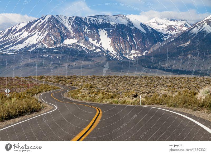 Streetview Ferien & Urlaub & Reisen Ausflug Abenteuer Ferne Freiheit Winter Schnee Berge u. Gebirge Umwelt Landschaft Sträucher Sierra Nevada Gipfel