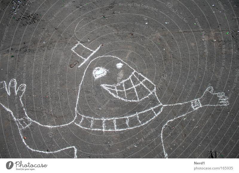 Pulli Freude Glück lachen Zufriedenheit Beton Fröhlichkeit Lebensfreude positiv Begeisterung Vorfreude Umrisslinie Gute Laune Kinderzeichnung Betonboden
