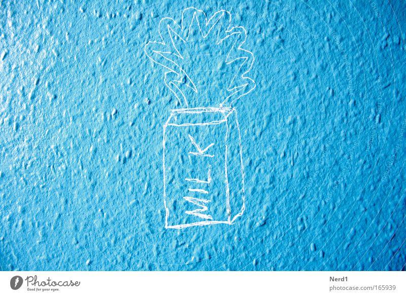 Milk Farbfoto Innenaufnahme Detailaufnahme Textfreiraum links Textfreiraum rechts Tag Sonnenlicht Starke Tiefenschärfe Milch Graffiti blau hell-blau