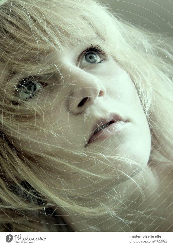 fall Farbfoto Gedeckte Farben Innenaufnahme Nahaufnahme Schatten Blick nach oben feminin Junge Frau Jugendliche Kopf Haare & Frisuren Gesicht Auge Nase Mund