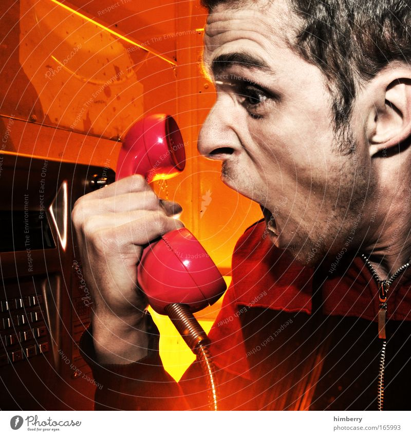 hotline Mensch Jugendliche Freude Leben Gefühle Kopf Stimmung Erwachsene maskulin Design Telefon Telekommunikation Wut schreien Mann