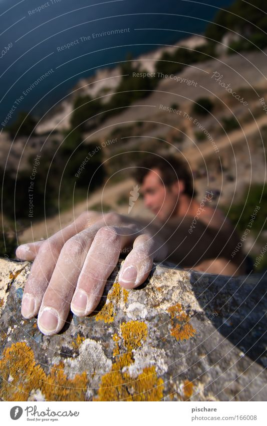 PACKST DU DAS? Freizeit & Hobby Sport Klettern Bergsteigen Bergsteiger Mann Erwachsene Hand Finger 1 Mensch 30-45 Jahre Moos Felsen Berge u. Gebirge Küste