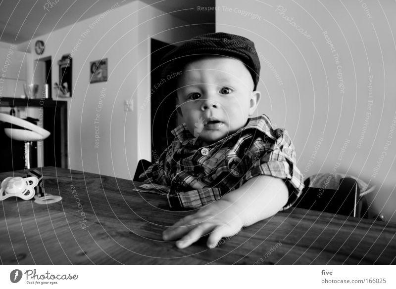 Rüebli oder Spinat? Mensch Kind Hand Gesicht Gefühle Glück Kopf Baby Raum blond Arme Wohnung sitzen maskulin Bekleidung Tisch