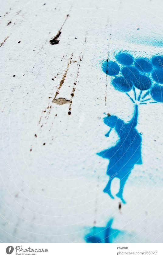 up and away Wand Graffiti Glück Mauer Kunst dreckig fliegen Luftballon Sehnsucht Lebensfreude Schweben Fernweh Flucht Bildausschnitt Straßenkunst Subkultur