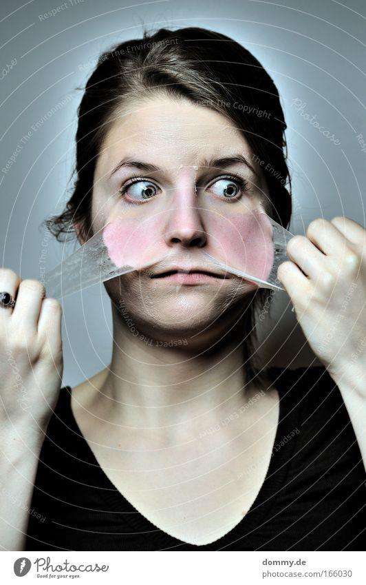 häuten Haut Gesicht Gesundheit Mensch feminin Junge Frau Jugendliche Erwachsene Leben Kopf Auge Ohr Nase Mund Lippen 1 18-30 Jahre blond alt hässlich ziehen