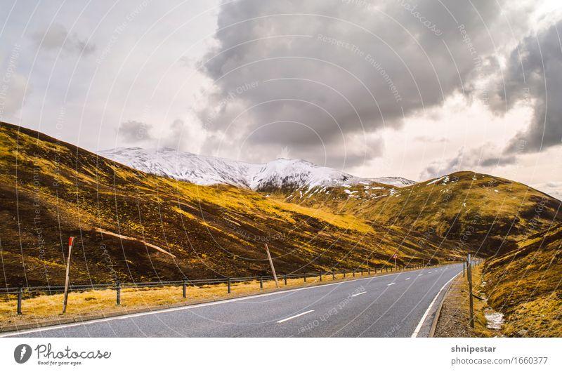 Highland Road Himmel Natur Ferien & Urlaub & Reisen Landschaft Wolken Ferne Berge u. Gebirge Umwelt Straße Wege & Pfade Schnee Tourismus Wetter Verkehr wandern