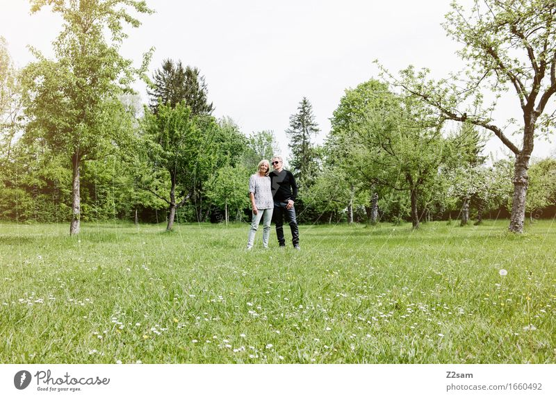 Rentnerpaar im Park Lifestyle elegant Stil Weiblicher Senior Frau Männlicher Senior Mann Paar Partner 60 und älter Natur Landschaft Sommer Schönes Wetter Garten