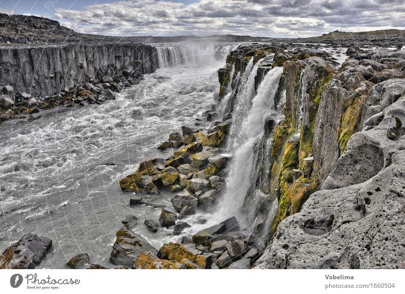 Selfoss, Island Tourismus Abenteuer Ferne Sightseeing Natur Landschaft Urelemente Wasser Wasserfall braun grau grün weiß Außenaufnahme Menschenleer Totale