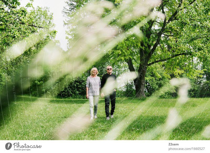Sommerspaziergang Frau Natur Mann alt Landschaft Erholung Senior Wiese natürlich Lifestyle Glück Garten Freiheit Paar gehen