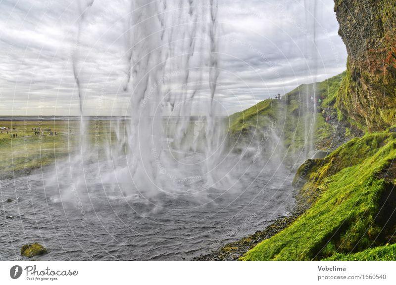 Seljalandsfoss, Island Natur grün Wasser weiß Landschaft braun Urelemente Wasserfall