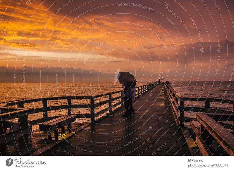 romantik pur Mensch Natur Ferien & Urlaub & Reisen schön Meer Erholung rot ruhig Liebe Küste Holz Paar Horizont orange Wellen Wind