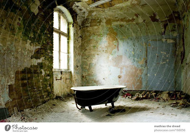 WANNE IST VOLL alt schön Einsamkeit ruhig Fenster dunkel Wand Architektur Mauer hell Raum dreckig Müll Idylle Badewanne