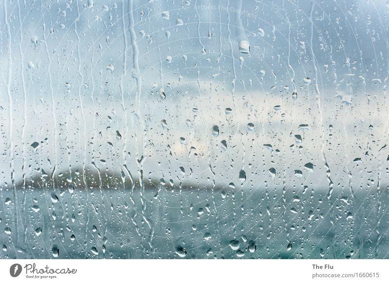 Trübe Aussichten Ferien & Urlaub & Reisen Meer Fenster Traurigkeit Küste grau Regen träumen trist Wind Europa Insel nass Sehnsucht Frankreich Schmerz