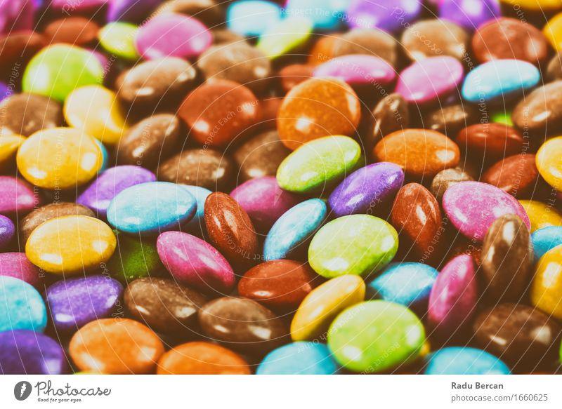 Bunter Stapel der runden Süßigkeit blau Farbe rot gelb Essen Lebensmittel Menschengruppe braun orange rosa Ernährung retro süß lecker Süßwaren türkis