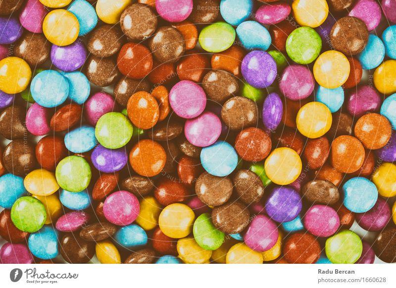 Süße bunte Süßigkeit Lebensmittel Süßwaren Ernährung Essen Diät Fressen füttern genießen nah retro rund süß blau braun mehrfarbig gelb gold grün violett orange
