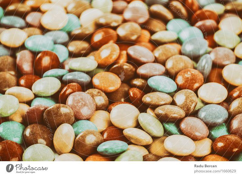 Süße bunte Süßigkeit Lebensmittel Süßwaren Ernährung Essen Diät Fressen füttern schön rund süß blau braun mehrfarbig gelb grün orange rot türkis Farbe