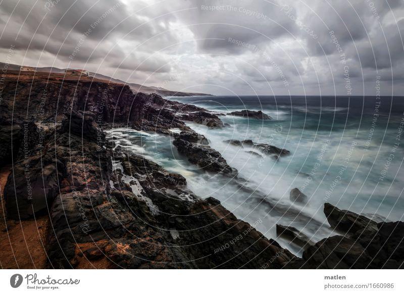 stürmisch Umwelt Landschaft Luft Wasser Himmel Wolken Horizont Frühling Klima Klimawandel Wetter schlechtes Wetter Wind Sturm Felsen Wellen Küste Fjord Riff