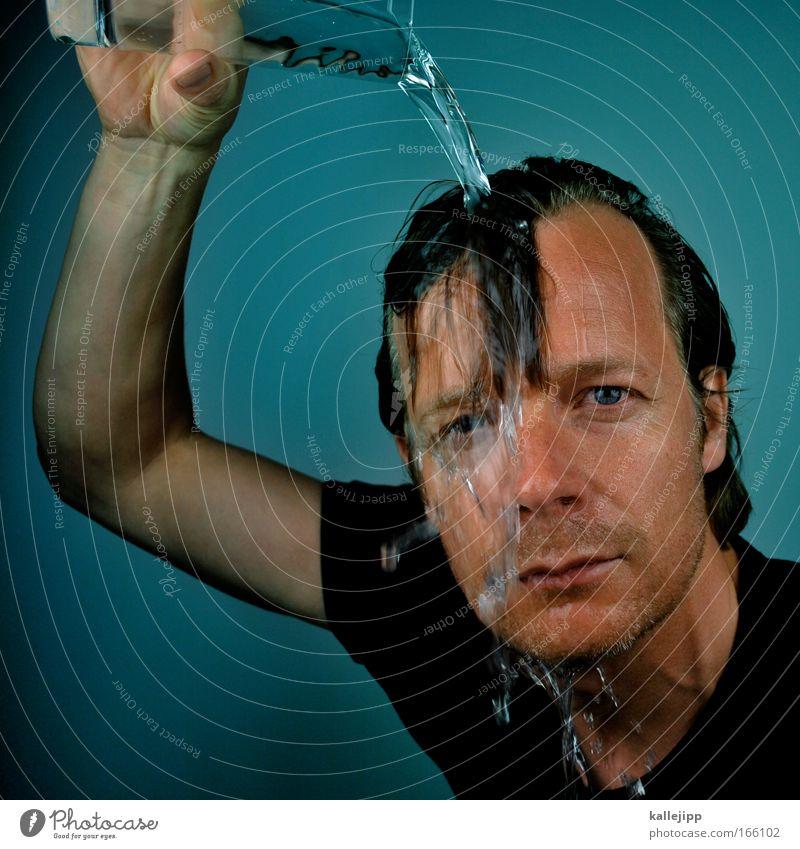 pudel Mensch Wasser blau Sommer Gesicht Auge kalt Haare & Frisuren Kopf Mund Wärme Haut Erwachsene Nase nass Trinkwasser