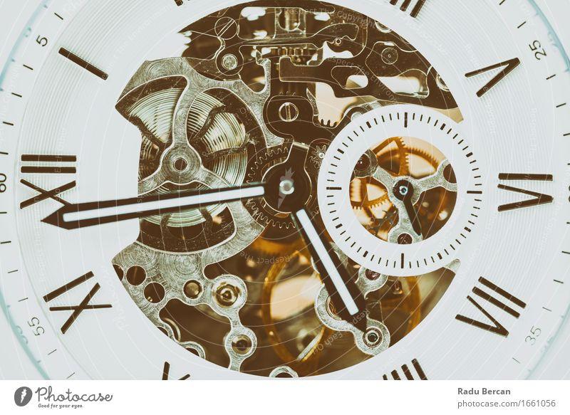 Automatische Herrenuhr mit sichtbarem Mechanismus Farbe schön weiß schwarz Stil Mode braun Design Zufriedenheit Uhr elegant gold Technik & Technologie Energie