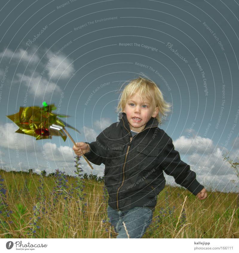 windenergie Blick nach vorn Freizeit & Hobby Spielen Kinderspiel Kleinkind Junge Gesicht Hand 1 Mensch Umwelt Natur Landschaft Pflanze Tier Himmel Frühling