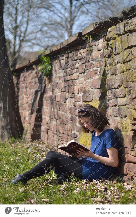 Zeit im Sonnenschein - brünette junge Frau sitzt in ihrer Freizeit auf einer Wiese an eine Sandsteinmauer gelehnt und liest in der Bibel Freude Zufriedenheit