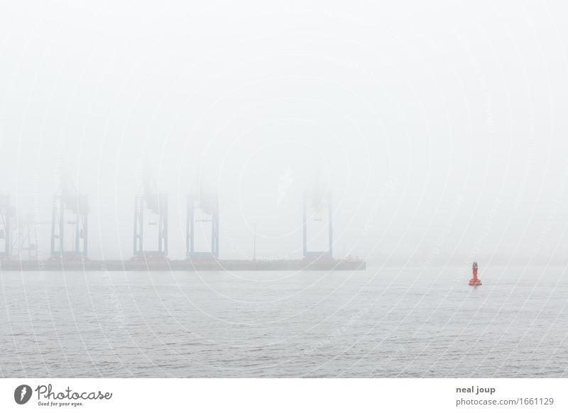 Hamburg, what the fog? Frühling Herbst Nebel Flussufer Elbe Hafenstadt Industrieanlage Kran Containerterminal Schifffahrt Boje Schwimmen & Baden Ferne groß