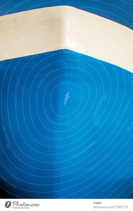 Schiffsbug in blau und weiß Design Ferien & Urlaub & Reisen Tourismus Meer Wasser Hafen maritim Stimmung Romantik Textraum Leeraum Farbe fischkutter frontal