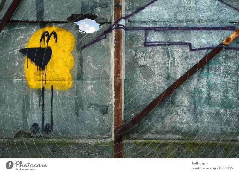 die gedanken sind frei Lifestyle Kunst Gemälde Kultur Subkultur Mauer Wand Tier Vogel Unendlichkeit Graffiti Gedanke Flucht Versteck Traurigkeit Berliner Mauer