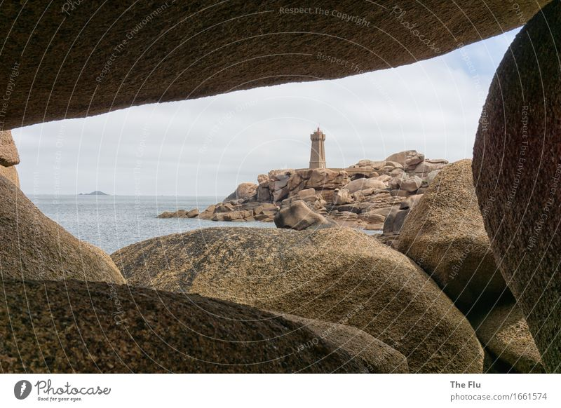 Durchblick Ferien & Urlaub & Reisen Tourismus Meer Insel Wellen Landschaft Küste Bucht Atlantik Ploumanach Cote de Granit Rose Bretagne Frankreich Europa Stein