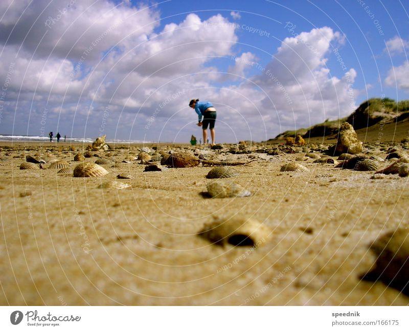 Muschelinflation Mensch Himmel Wasser blau Ferien & Urlaub & Reisen Sonne Sommer Meer Strand Wolken Umwelt Landschaft Sand Stein braun Erde