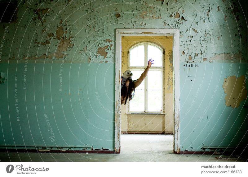 TÜRRAHMEN Mensch alt Erwachsene dunkel Fenster Architektur Kopf Haare & Frisuren Gebäude Tür Angst Arme Haut maskulin bedrohlich 18-30 Jahre
