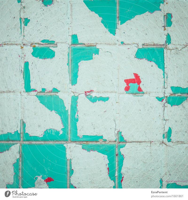 . Haus Bauwerk Gebäude Architektur Mauer Wand Fassade Linie alt kaputt rot türkis weiß Design Farbe abblättern abgeplatzt Trennung Fliesen u. Kacheln Quadrat