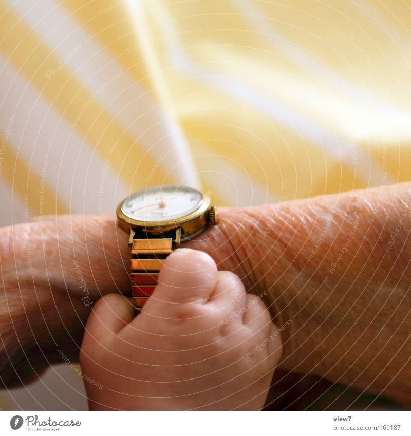 Zeit + Generationen Mensch Kind Hand alt Senior gelb Leben Glück Familie & Verwandtschaft Zufriedenheit Baby Zusammensein Zeit Arme Gold Finger