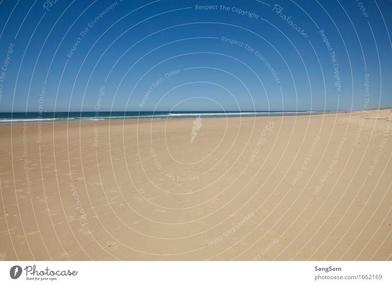Atlantikstrand Frankreich Himmel Natur Ferien & Urlaub & Reisen blau Sommer Wasser weiß Meer Landschaft Strand Ferne braun Sand Luft Freizeit & Hobby Wellen