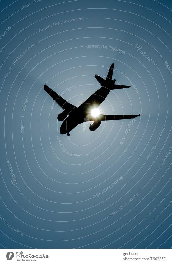 Flugzeug Silhouette mit Sonne Luftverkehr Flugzeuglandung Cockpit Düsenflugzeug Fahrwerk fliegend Flughafen Tragfläche Gegenlicht Geschwindigkeit Himmel Licht