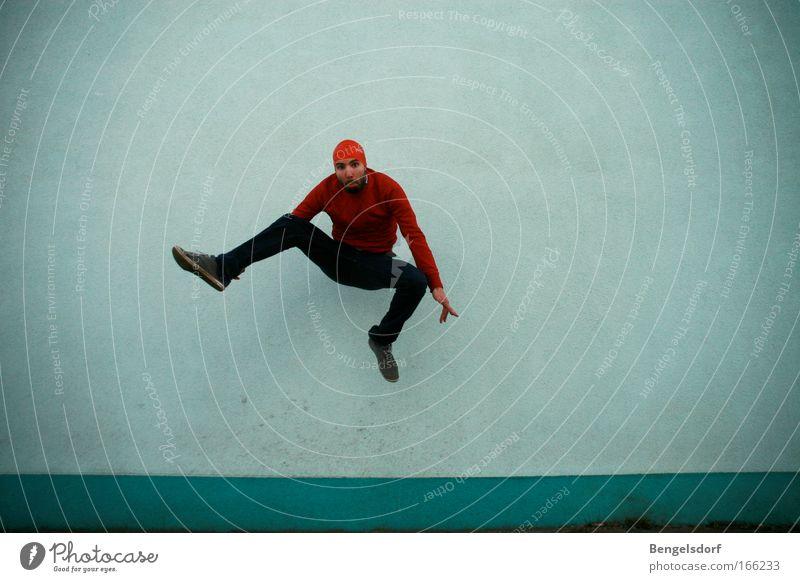 Männerballett Mann blau rot springen Tanzen Balletttänzer Momentaufnahme Tänzer Badekappe
