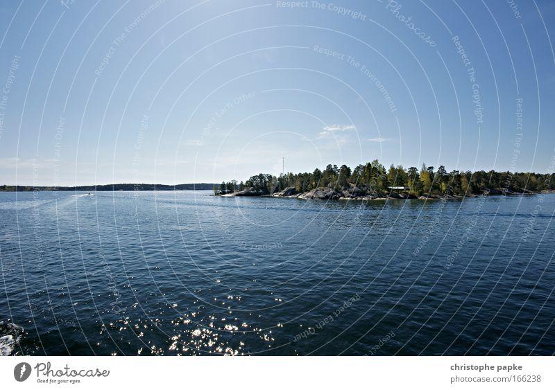 Schären Farbfoto Außenaufnahme Menschenleer Textfreiraum links Textfreiraum oben Tag Reflexion & Spiegelung Sonnenlicht Gegenlicht Erholung