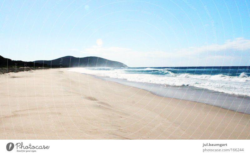 Strand Booti Booti N.P. Farbfoto Außenaufnahme Menschenleer Tag Licht Silhouette Totale Natur Landschaft Urelemente Sand Luft Wasser Himmel Sommer