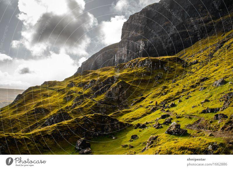 The Quiraing, Isle of Skye, Scotland Himmel Natur Ferien & Urlaub & Reisen grün Landschaft Erholung Wolken ruhig Ferne Berge u. Gebirge Leben Gesundheit