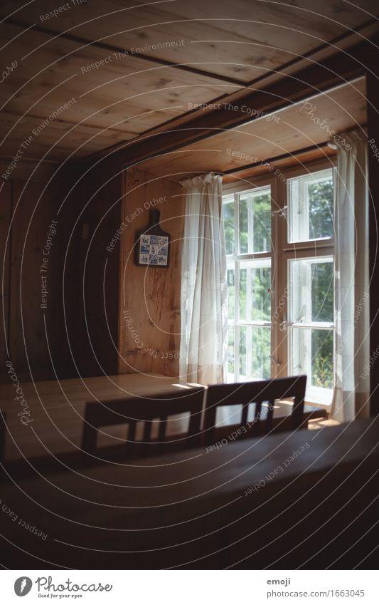 Bauernhaus Haus bauernhaus Gardine Fenster Esszimmer Wohnzimmer alt ästhetisch Farbfoto Innenaufnahme Menschenleer Tag Sonnenlicht Low Key
