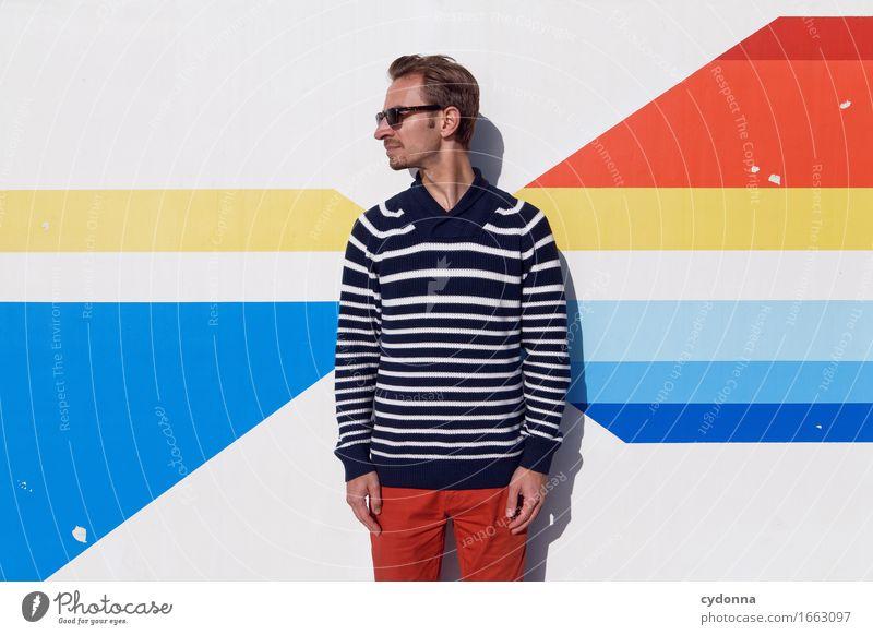 Streifig Lifestyle Stil Design Bildung Studium Karriere Mensch Junger Mann Jugendliche Leben 18-30 Jahre Erwachsene Pullover Beratung entdecken Entschlossenheit
