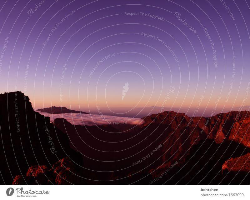 in sich ruhen Ferien & Urlaub & Reisen Tourismus Ausflug Abenteuer Ferne Freiheit Natur Landschaft Himmel Wolken Felsen Berge u. Gebirge Roque de Los Muchachos