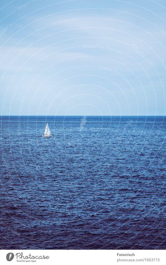 einsmanes Segelboot Himmel Natur Ferien & Urlaub & Reisen Wasser Meer Einsamkeit Ferne Freiheit Horizont Freizeit & Hobby Ausflug Schönes Wetter Abenteuer Pause