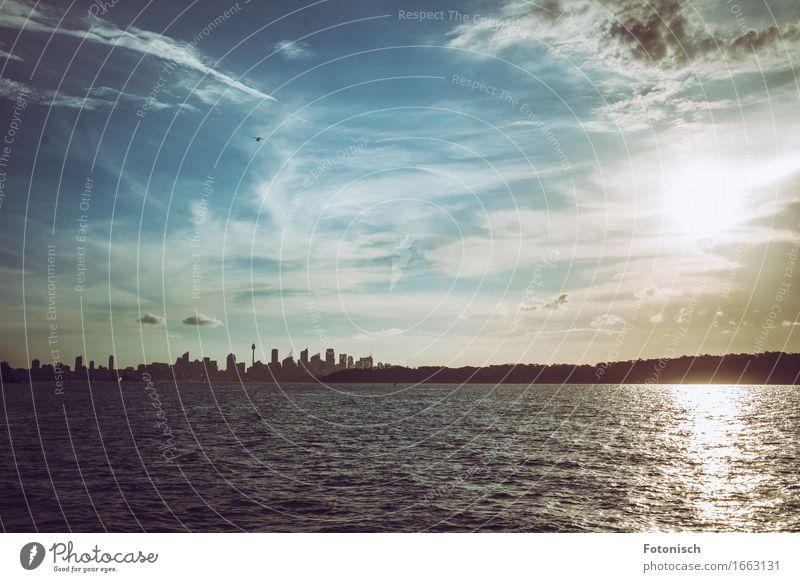Sonnenuntergang in Sydney Ferien & Urlaub & Reisen Städtereise Himmel Wolken Schönes Wetter Meer Australien Australien + Ozeanien Stadtrand Skyline Menschenleer