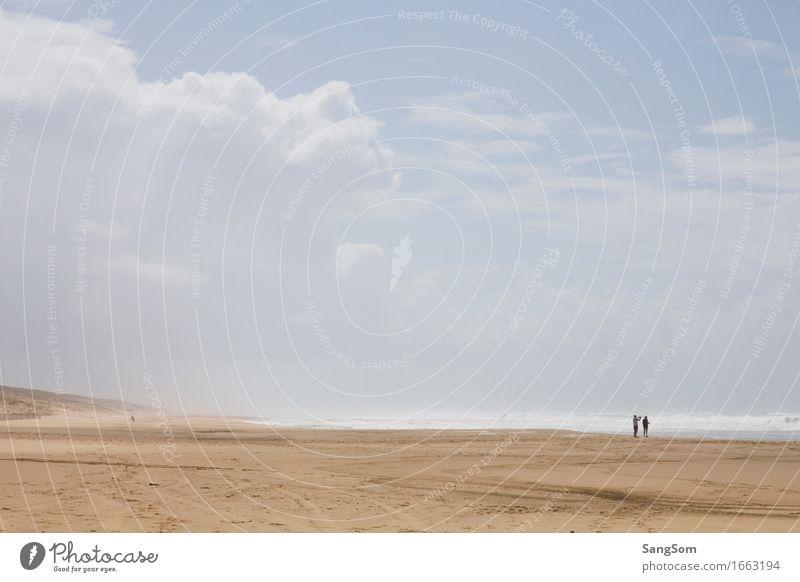 Atlantikstrand Frankreich I Mensch Himmel Natur Ferien & Urlaub & Reisen blau Sommer schön Wasser weiß Landschaft Meer Wolken Ferne Strand Bewegung Küste