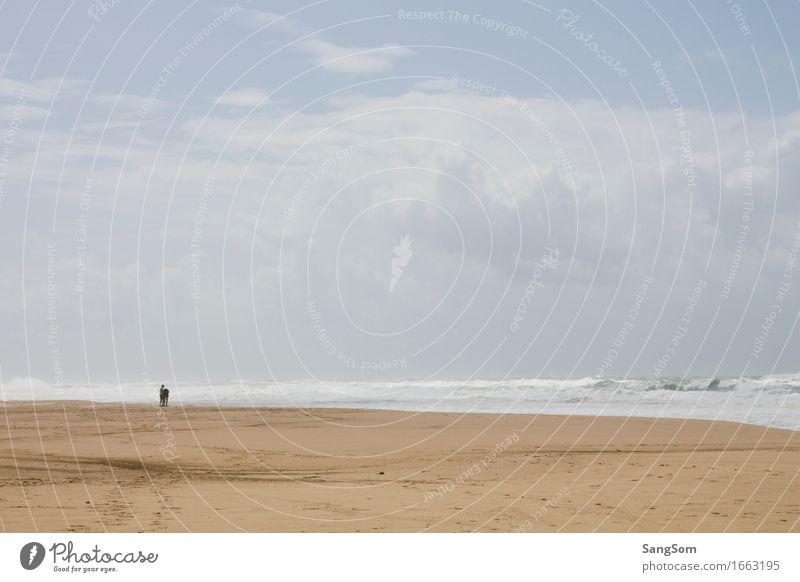 Atlantikstrand Frankreich II Ferien & Urlaub & Reisen Ferne Sommer Sommerurlaub Strand Meer Wellen Mensch 2 Natur Landschaft Sand Wasser Himmel Wolken Frühling